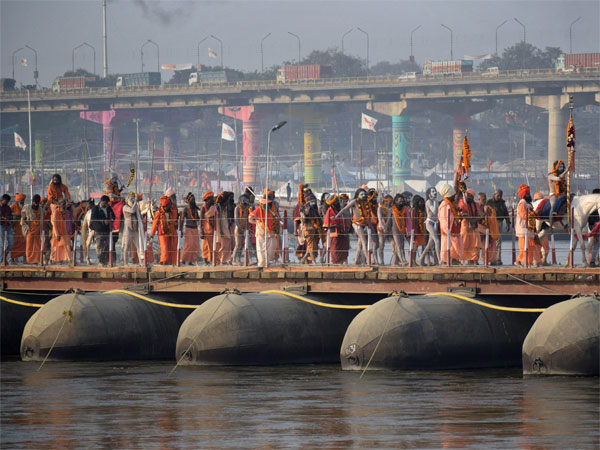 Sadhus take part in the Peshvai, a religious ceremony, ahead of the Kumbh Mela 2019, in Allahabad