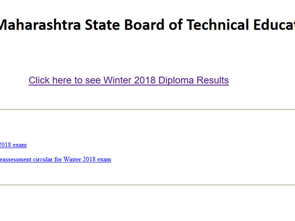 MSBTE Winter Diploma exam results 2018, website responding