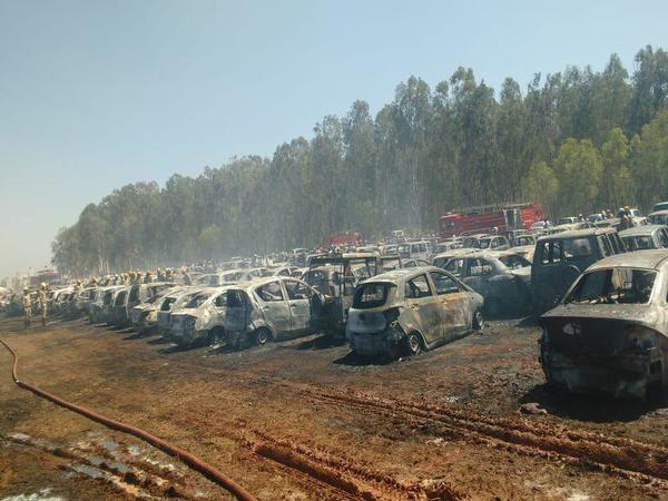 Cars gutted in Aero India 2019 fire