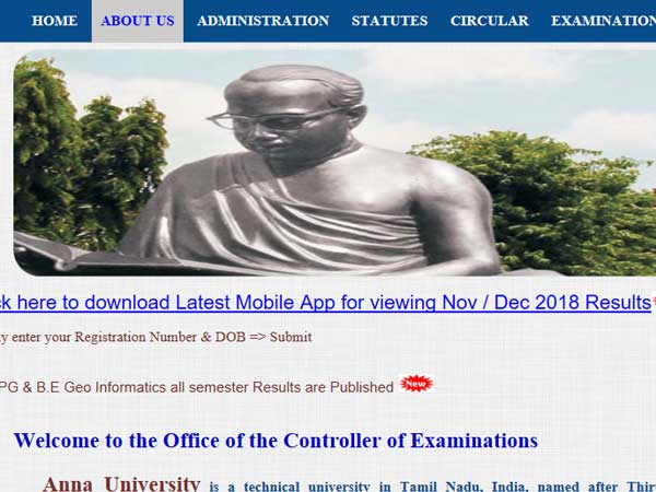 Anna University 2019 results for semester 1 UG/PG courses declared