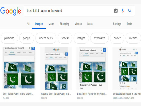 Amid tensions, Google glitch shows Pak flag for 'World's Best Toilet Paper' search