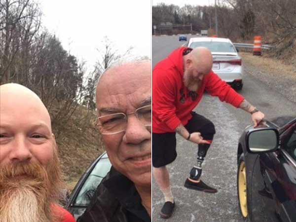 Feels good: When a challenged man changed flat tyre of former US state secretary Colin Powell's car