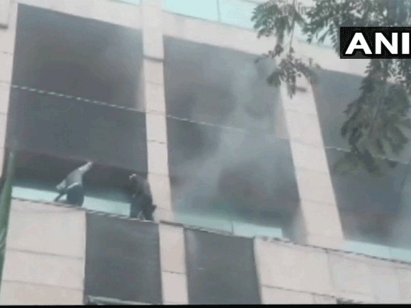 Fire at Noidas Metro Hospital on Feb 7 (Image courtesy - ANI/Twitter)