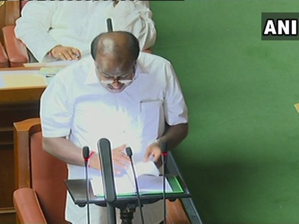 CM HD Kumaraswamy presenting the Budget. Courtesy: ANI photo