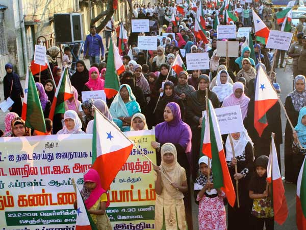 In 2018, women members of Popular Front of India take part in a protest against Jharkhands BJP government for banning their organisation, in Coimbatore. PTI file Photo
