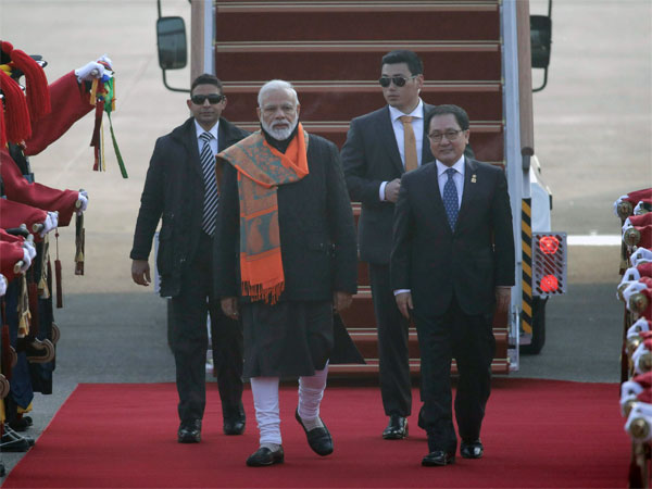 Indian Prime Minister Narendra Modi, front left, inspects a guard of honor with South Korean Minister of Science and ICT You Young Min, right, upon his arrival at the Seoul airport in Seongnam, South Korea, Thursday, Feb. 21, 2019. Modi arrived Thursday for a two-day state visit and will meet with South Korean President Moon Jae-in. AP/PTI