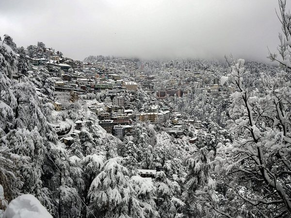 A view of snow-covered Shimla