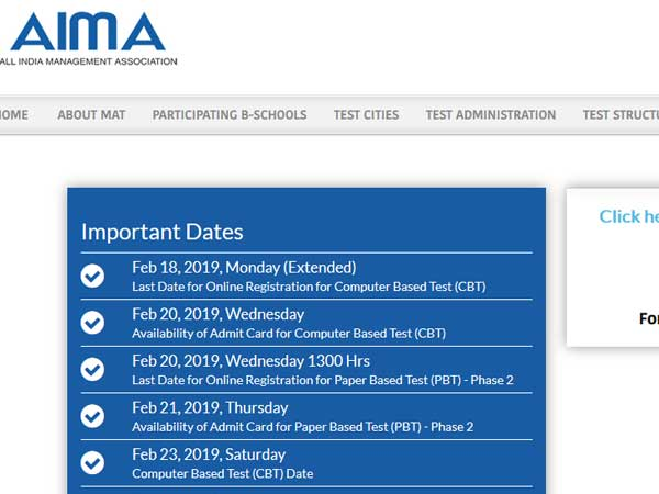 Aima Mat 2019 Result Declared How To Check Oneindia News