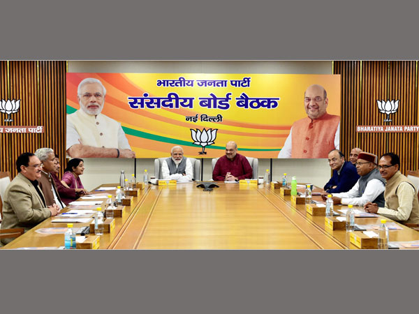 Prime Minister Narendra Modi and BJP President Amit Shah attend partys Parliamentry Board Meeting over poll preparedness, in New Delhi