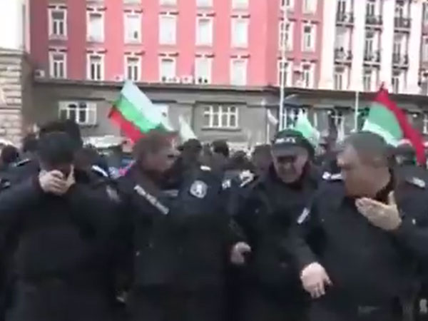 Video: Bulgaria police pepper spray themselves while trying to disperse protesters