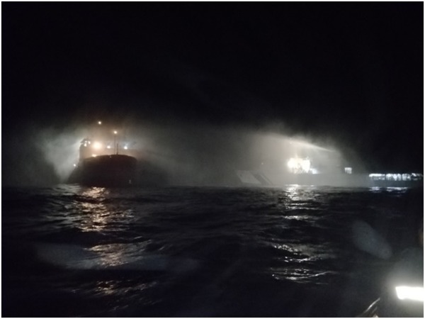 Indian Coast Guard ships doused a major fire on board a ship. Courtesy: @IndiaCoastGuard