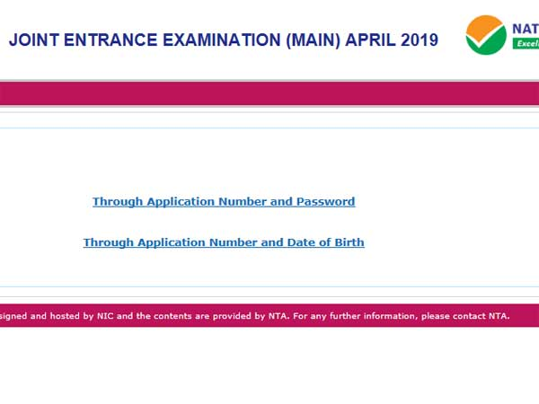 JEE Main 2019 Admit card: Direct link to download