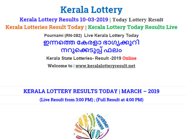 Kerala Lottery Result Today: Pournami RN-382 Today lottery result LIVE, now