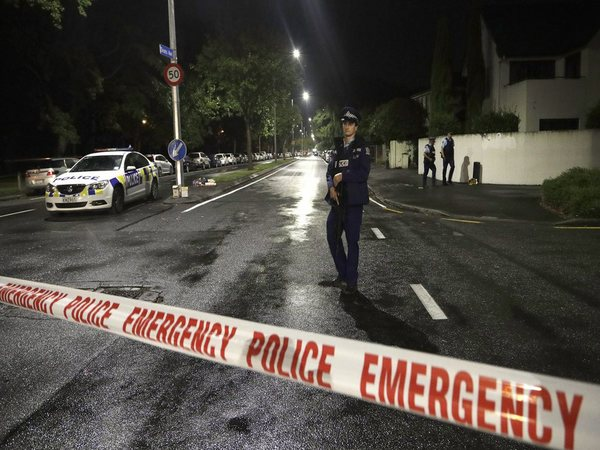 A police officer patrols at a cordon near a mosque in central Christchurch, New Zealand, Friday, March 15, 2019. Multiple people were killed in mass shootings at two mosques full of worshippers (PTI-Image)