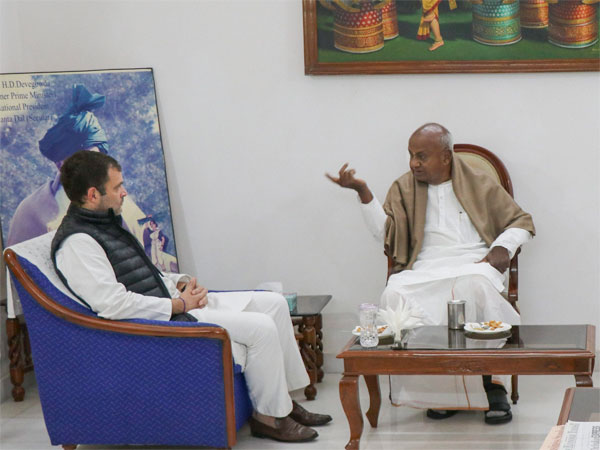 Congress president Rahul Gandhi meets former Prime Minister and Janata Dal (S) leader HD Deve Gowda at the latters residence in New Delhi