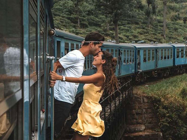 Instagram Couple slammed for dangerous photo shoot outside moving train in Sri Lanka