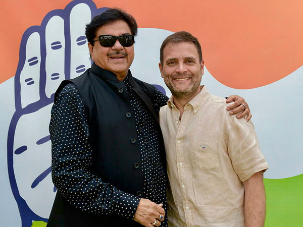 Congress President Rahul Gandhi meets BJP MP Shatrughan Sinha, in New Delhi