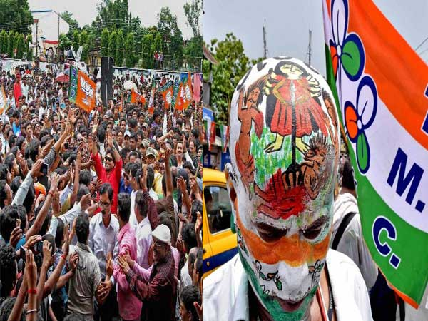 Lok Sabha election: TMC, BJP supporters peacefully share same wall for graffiti writing in Bengal