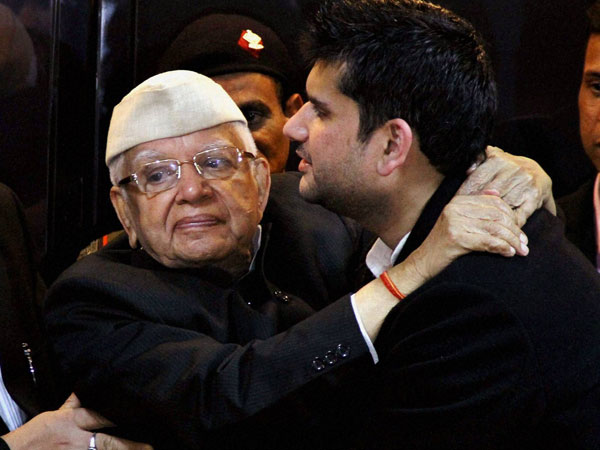 File photo of ND Tiwari along with his son Rohit Shekhar Tiwari