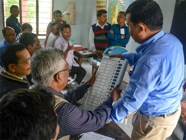 An EVM trainer provides training to election polling and presiding officer ahead of Lok Sabha election 2019, in Baska district of Assam. PTI file photo