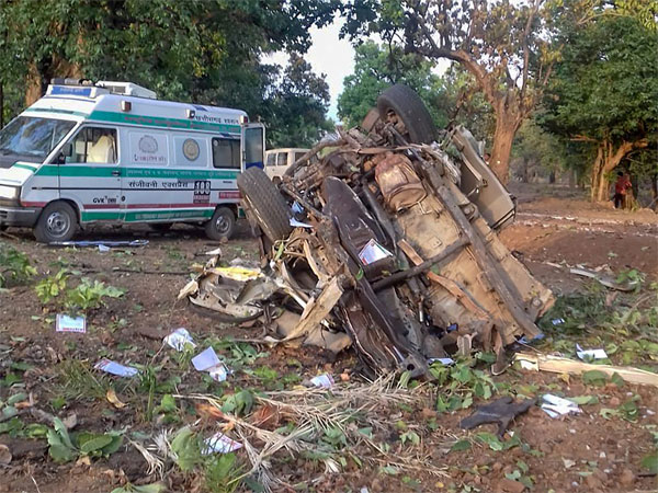 Mangled remains of a vehicle after a BJP convoy was attacked by the Maoists in Dantewada district of Chhattisgarh, Tuesday, April 9, 2019. BJP legislator Bheema Mandavi, who was also in the convoy, reportedly killed in the attack.