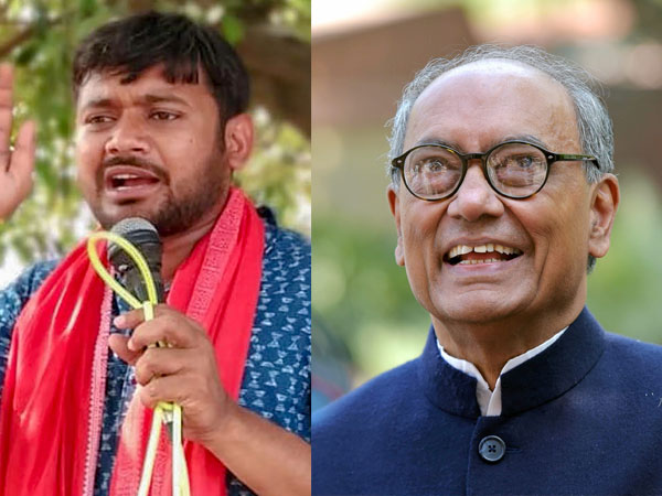File photo of Kanhaiya Kumar and Digvijaya Singh
