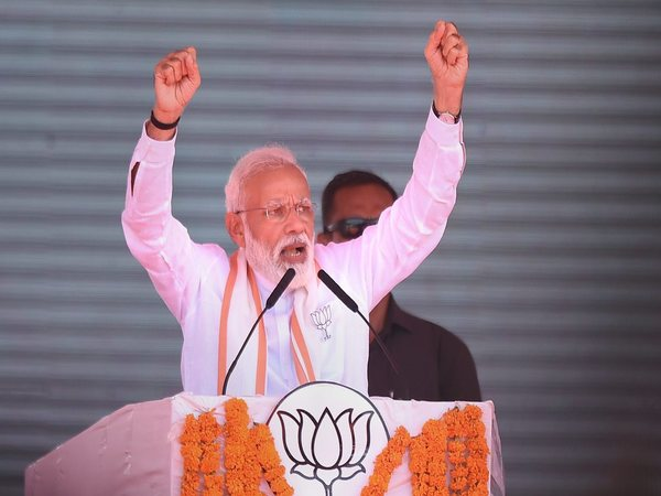PM Narendra Modi gestures as he addresses an election campaign rally in Ramanathapuram. Photo credit: PTI