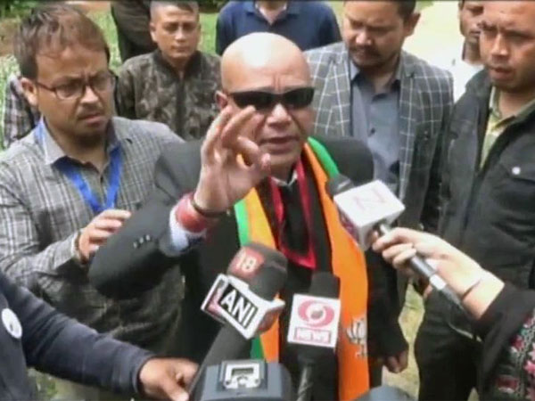BJP candidate from Shillong Sanbor Shullai, Image credit: ANI