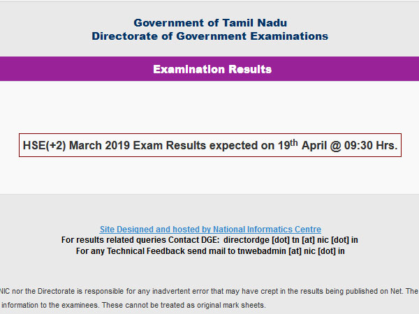 TN HSE Plus 2 result 2019 to be declared ,today by this time
