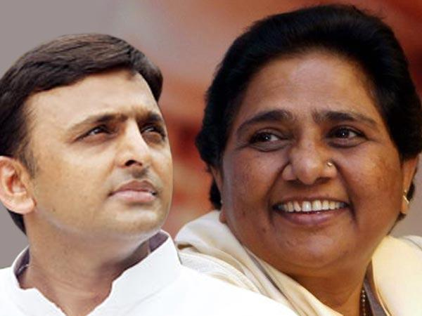 Akhilesh Yadav (left) and Mayawati (right)