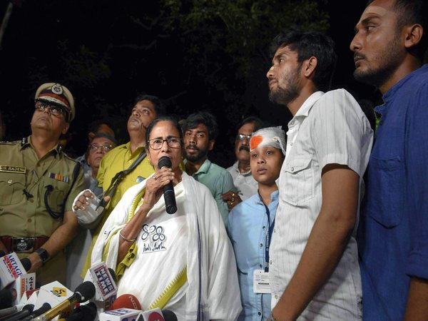 File photo of Mamata Banerjee speaking at Vidyasagar college on Tuesday