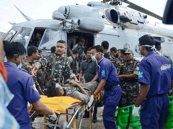 CRPF personnel injured in an IED blast triggered by Naxals Seraikela Kharsawan district, being airlifted for treatment, in Ranchi.