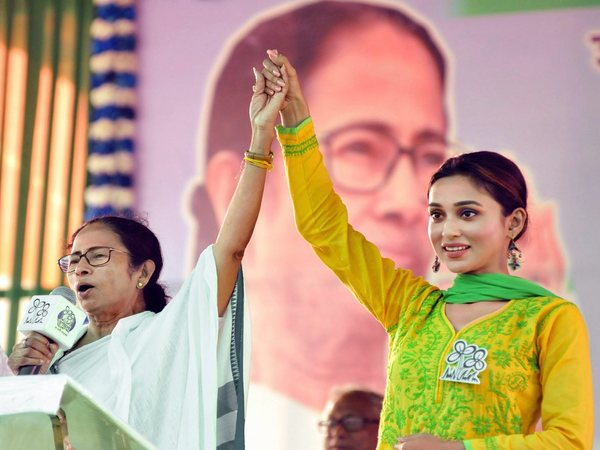 Mamata Banerjee with party candidate Mimi Chakraborty during an election campaign (Image courtesy: PTI)