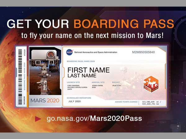 You can send your names on NASAs next mission to Mars. Are you excited?