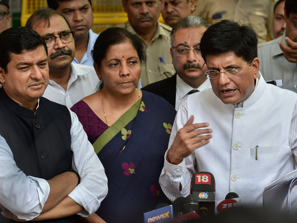 BJP leaders Piyush Goyal, Nirmala Sitharaman and others talk to the media after meeting with the Election Commission of India at Nirvachan Sadan in New Delhi