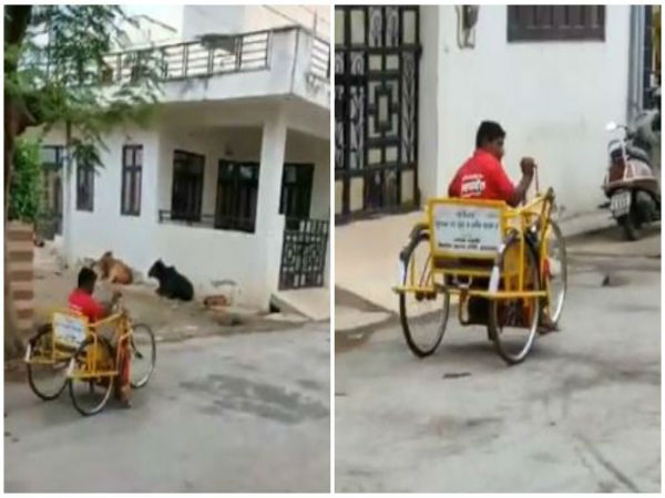 This video of Differently-Abled man delivering food on Tricycle is winning hearts online