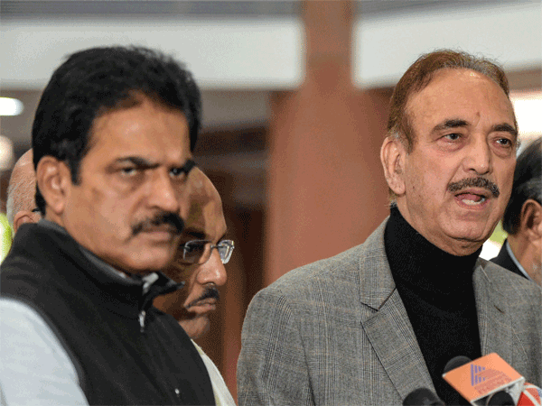 Congress leader Ghulam Nabi Azad and AICC general secretary in-charge of the state K C Venugopal