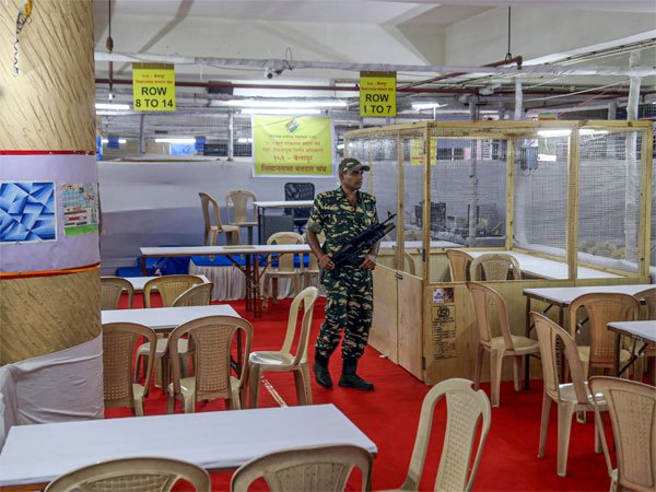 A security jawan guards at a counting centre, prepared for the 2019 Lok Sabha polls, in Mumbai