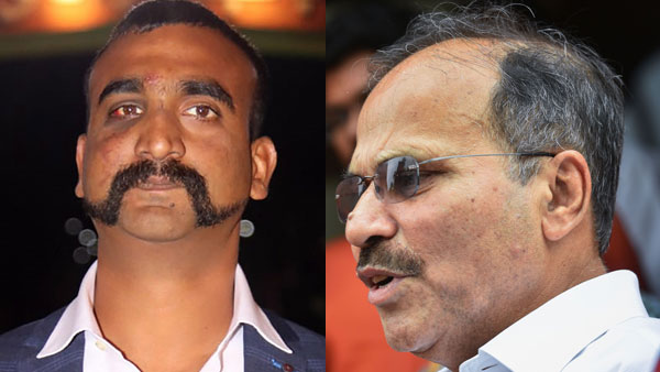 File photo of Wing Commander Abhinandan Varthaman and Adhir Ranjan Chowdhury