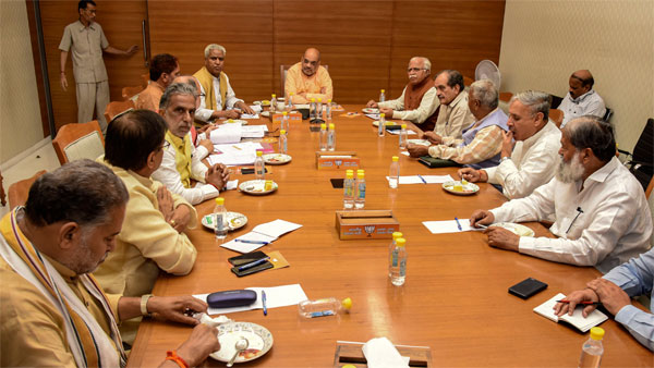 Union Home Minister and BJP President Amit Shah holds a meeting with BJP leaders