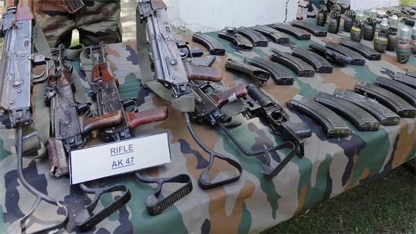 Under barrel grenade launcher, huge cache of arms recovered near Myanmar border