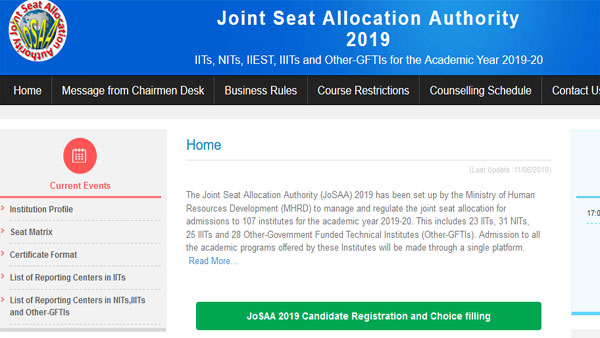 JOSAA 2019: IIT admission, registration, seat allotment full schedule
