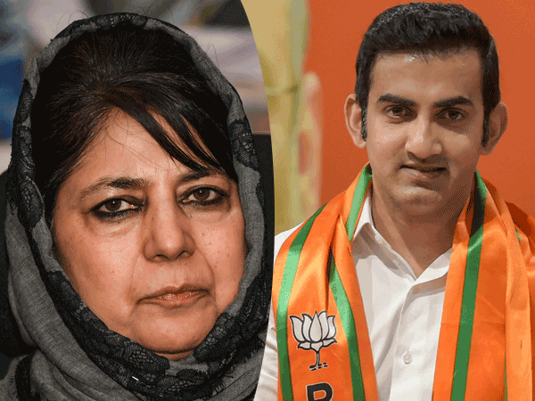 File photo of Mehbooba Mufti and Gautam Gambhir