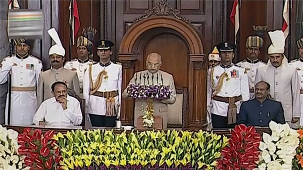 President Ram Nath Kovind addresses a joint session of Parliament in the presence of Vice President Venkaiah Naidu and Lok Sabha Speaker Om Birla, in New Delhi