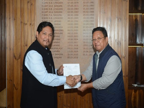 National General Secretary Thomas Sangma, MLA handing over letter of recognition of NPP as National Party received from the EC.