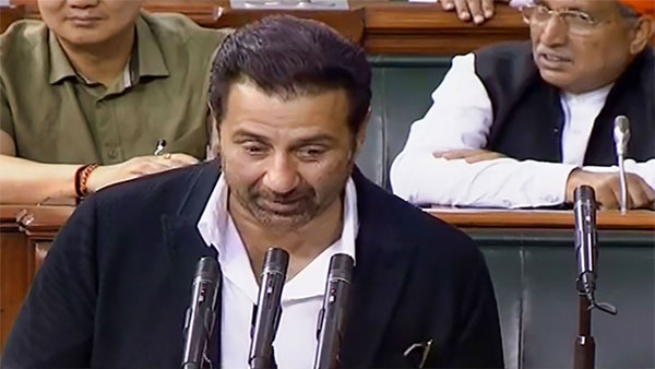 Newly-elected BJP MP Sunny Deol takes oath as a member on the second day of first session of the 17th Lok Sabha, at Parliament House in New Delhi
