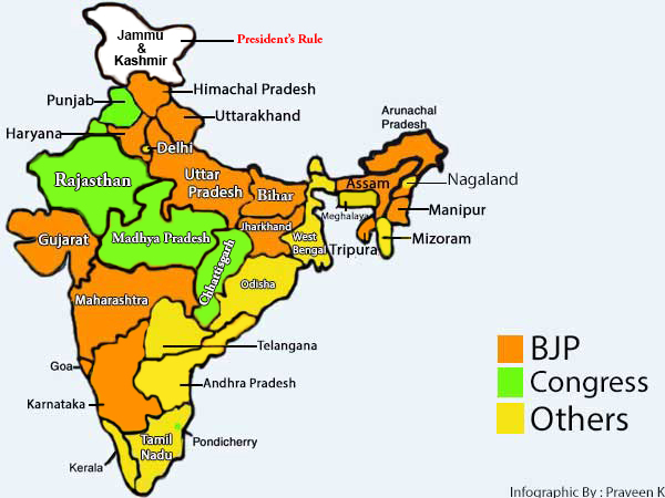 Infographic: States ruled by the BJP in 2017