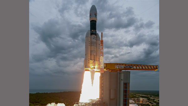 India's second Moon mission Chandrayaan-2 lifts off onboard GSLV Mk III-M1 launch vehicle from Satish Dhawan Space Center at Sriharikota in Andhra Pradesh
