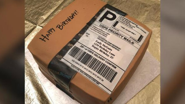 Man surprises his shopoholic wife with birthday cake shaped like an Amazon package