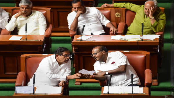 HD Kumaraswamy with G Parameshwara during the Assembly Session.
